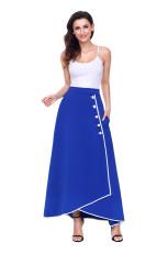 Botão canalizado azul royal embelezado saia de cintura alta Maxi