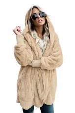 Coat front front Khaki Soft Fleece Hooded Open