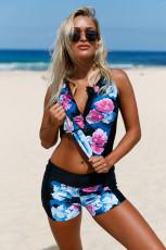 Eleganter floraler Reißverschluss vorne Sportlicher 2pcs Tankini-Badeanzug