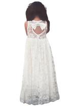 Hvit Ermeløs Rose Lace Flower Girl Dress