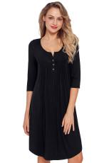 Black Quarter Sleeve příležitostné šaty Tunic