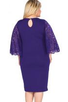 Donanma Dantel Çarpıntı Kol Artı Beden Bodycon Elbise