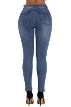 Blue Retro Patch Depan Ankle Zipped Jeans
