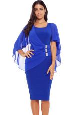 Niebieska talia zakładka Rhinestone Detail Midi Dress