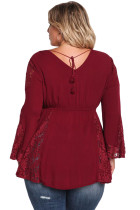 Burgundy V Neck Lace Sett inn brystmuffer Babydoll Plus Top