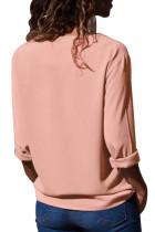핑크 턴 다운 칼라 비대칭 버튼 다운 블라우스