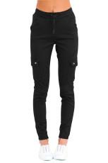 Siyah İpli Ayak Bileği Cep Denim Jeans