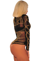 Svart Gull Rhinestone Faux Bustier Mesh Long Sleeves Bodysuit
