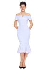 Hvid Off Shoulder Short Sleeve Mermaid Dress