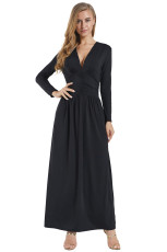 Hitam Vintage Terinspirasi V-neck Long Sleeve Maxi Dress