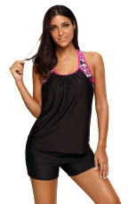 Černý blusonový styl Floral T-back Tankini Top
