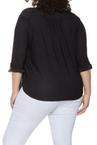Svart Plus Size Zip Up Plissert Top