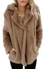 ブラウンポケットスタイルふわふわウィンターコート