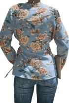 Blauer Sage Daisy Floral Wickelbund Taille Langarmbluse