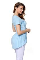 라이트 블루 아가씨 넥 라인 Babydoll Style 티셔츠