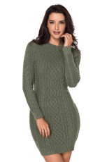 陸軍グリーンスラッシュケーブルセータードレス