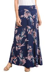 Navy Vibrant Floral چاپ Long Maxi دامن