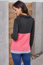 Kömür Pembe Colorblock Thumbhole Kollu Sweatshirt