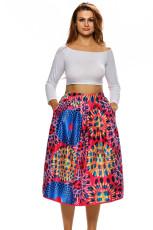 Vintage cintura alta África impressão Midi saia forrada