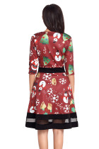 Jolly Christmas Cartoon Print Wine A-line Dress