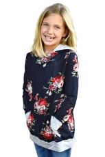 Navy Floral Hooded jente sweatshirt
