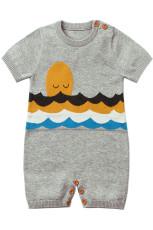 Szürke Adorable Shy Sun Pattern Kötött póló Baby Romper