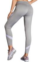 Серые штаны с высокой талией и йогой с цветным блоком