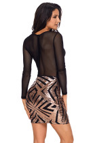 Gaun Black Sheer Mesh Long Sleeve Champagne Club