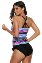 Striped Tie Dye Cetak Multicolor Two Piece Bathing Suit