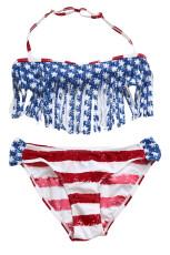 Bikini con flecos bandera americana para niñas