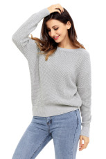 Grey Cross Back Back Hollow-Out Sweater