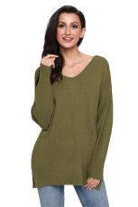 Hijau Army Kebesaran Lengan Panjang Rajutan V-Neck Sweater