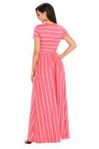 Valkoinen Striped Rosy lyhythihainen Maxi mekko