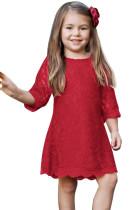 Kırmızı Çiçek Kız Dantel Mini Elbise