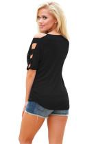 Zwart Koud Schouder Ruched Sides T-shirt