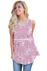 Dusty Pink Floral Pompom Lace Trim Flowy Tank Top