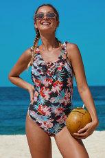 Ruffle Shoulder Straps Flower One Piece Swimsuit