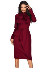 Gaya Burgundy Asymmetric Peplum Pussy Bow Dress