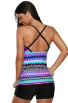 Multicolor Waves Print Tankini med Criss Cross Back