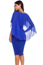 Modrý pas pleats Rhinestone Detail Midi šaty