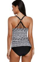 Fekete fehér nyomtatási minta Strappy Back 2pcs Tankini fürdőruha