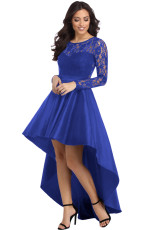 Royal Blue Long Long Sleeve Lace High High Satin Prom Dress
