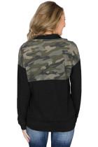 카모 스플 라이스 블랙 캥거루 포켓 지퍼 칼라 스웨터
