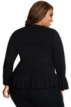 Schwarzer Rüschensaum mit V-Ausschnitt, Plus Size Cardigan