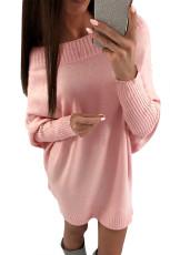 ピンクのスタイリッシュなロングスリーブバギーセータードレス