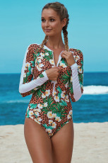 Floral Print Accent Leopard Long Sleeve One Piece Badedrakt