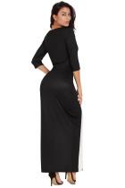 블랙 화이트 컬러 블럭 사이드 슬릿 맥시 드레스