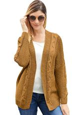 Khaki Chunky Wide Long Sleeve Knit Cardigan