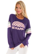 Purple Be Happyグラフィックスウェットシャツ