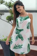 Palmiye Ağacı Yaprak Baskı Fildişi Kolsuz Elbise